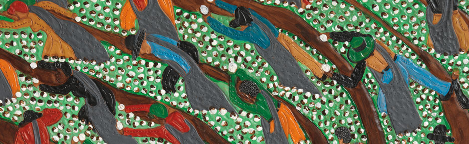 A close up of Cotton Rows, 2009. Also link to www.adelsongalleries.com for other works by Winfred