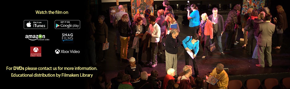 Audience looking Winfred's paintings at Arlington Film Fest after the screening, link to Amazon instant movies